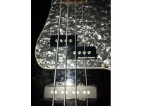 crafted in Indonesia Squier special PJ bass with Seymour duncan quarter pound pickups.