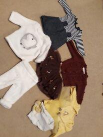 Large bundle of newborn baby girls clothing 20 items.