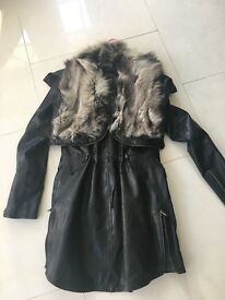 Fox fur and leather coat