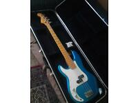 Bass with case left handed bass