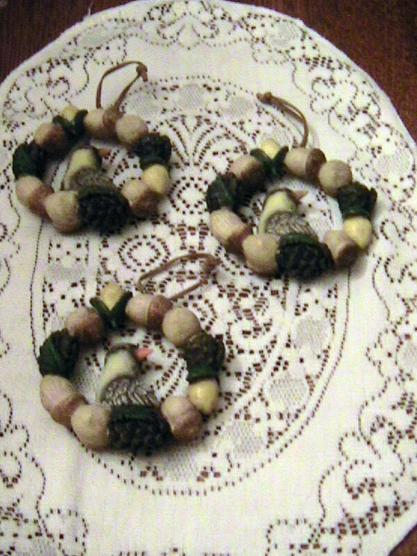BIRD, ACORN AND PINE CONES WREATH ORNAMENTS W/RAWHIDE HANGER--LOT OF 3