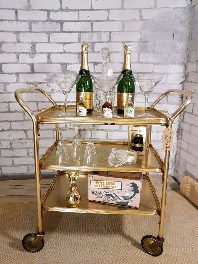 Gorgeous Gold 1960s Bar Cart Vintage Drinks Trolley In
