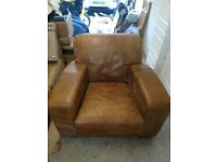 Leather armchair and matching cargo foot stool (DFS Caeser range)