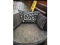 £300! 3 seater sofa, swivel chair, and foot rest! Good condition