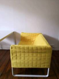 IKEA knopparp sofa with 2 covers grey and yellow
