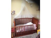 Nursery Furniture. Cot Bed, Changing Unit, Wardrobe and Moses Basket Stand / Rocker