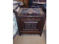 EDWARDIAN MAHOGANY PIANO STOOL with MUSIC STORAGE CUPBOARD and UPHOLSTERED SEAT -