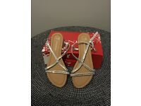 Silver strap sandals size 7