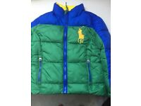 Boys RALPH LAUREN age 4 puffa jacket excellent condition green and blue