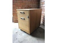 Oak veneer under-desk filing unit