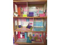 Dolls barbie size wooden dolls house with furniture