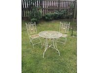 French style wrought iron garden bistro set (table and 2 chairs) by Laura Ashley. £80