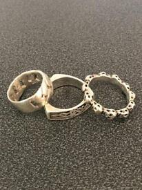 3 x SOLID SILVER MENS RINGS