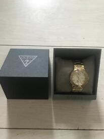 Gold Guess Ladies watch with box