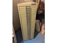 Original Bisley beige 30 drawer filing tower
