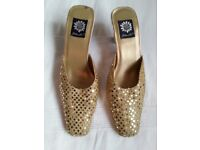 Gold sequinned open back stilettos (Yellow Box) Size UK 6 US 8