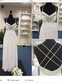 For Sale - strappy Pearce Fionda cream prom / wedding dress - size 8