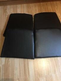 Set of 4 black leather cushion pads home or garden as new