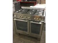 Baumatic BCG925SS 90cm Wide Dual Fuel Range Cooker Oven Twin Cavity With Gas Hob