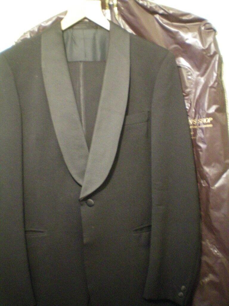 Evening Suit, Aquascutum men's DJ jacket and trousers.