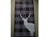 Chocolate Brown Stag Deer Tartan Check Rug Soft Short Pile - 60 X 110CM - New