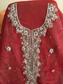ASIAN HANDMADE EMBROIDERED UNSTITCHED SHIRT AND DUPATTA PIECE