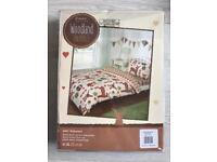 BRAND NEW WOODLAND ANIMALS COMPLETE SET WITH FITTED SHEET & PILLOW CASE