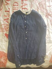 Pretty Green Navy And White The Beatles Inspired Kaftan XL Shirt Liam Gallagher