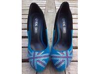 Womens Union Jack Glitter Shoes Blue / Black Size 36