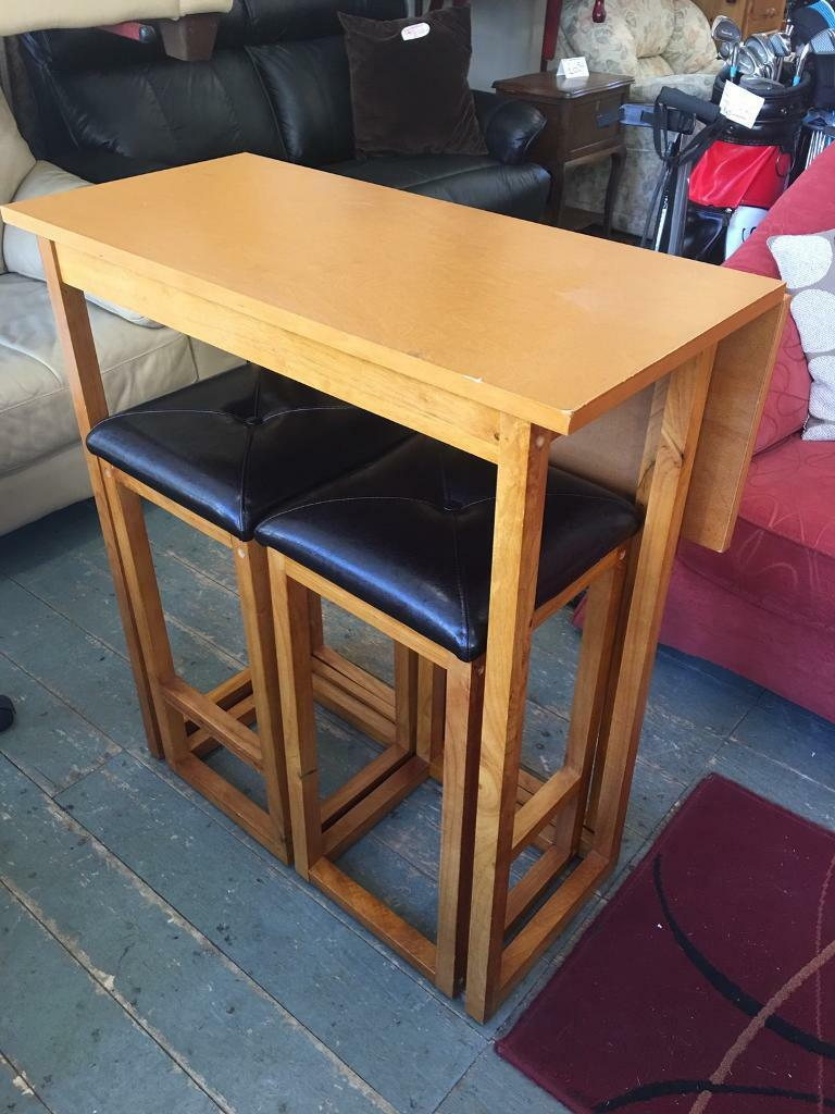 Drop leaf wood table with stools