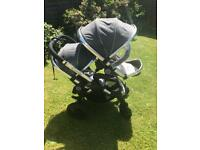 icandy peach 3 double pushchair with lascal buggy board