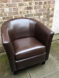 2 x matching brown leather Tub chairs...