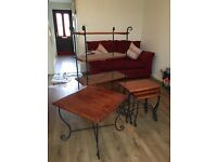 3 piece solid wood set comprising of coffee table 3 nest of tables 4 shelf unit