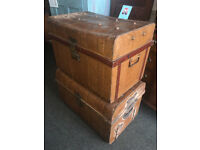 Nice Pair of Antique Victorian Railway Metal Tin Chest Trunk Storage Box Coffee table