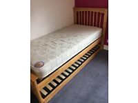Oak single bed with trundle guest bed