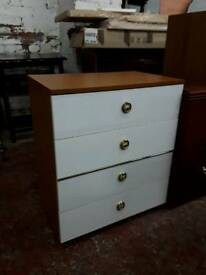 Retro Bedroom Chest Of Drawers. White Fronts.