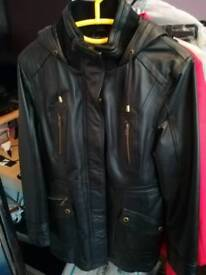 Ladies black leather parker style coat with hood