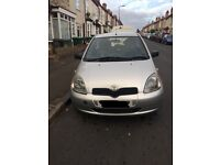 Car for sale, Toyota Yaris, 1 litre, MOT until August 2017, silver, 79000 miles, small dent in side