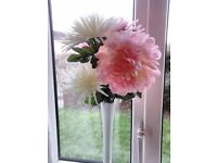 X8 Artificial pink and white flowers in white vases.