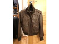 Genuine brown leather jacket size 14