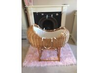 Mothercare wicker Moses basket with rocking stand