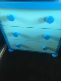 Boys ikea bedroom furniture small toddler bed, wardrobe and side table and drawers