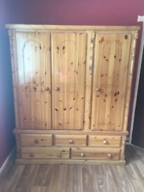 Sold pending collection Solid Pine Wardrobe and matching drawers