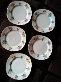 Set of 5 Royal Vale English bone china plates 1950,s. Plus two cups and saucers.