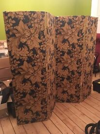 Folding Screen - blue and gold floral *recently re-upholstered*