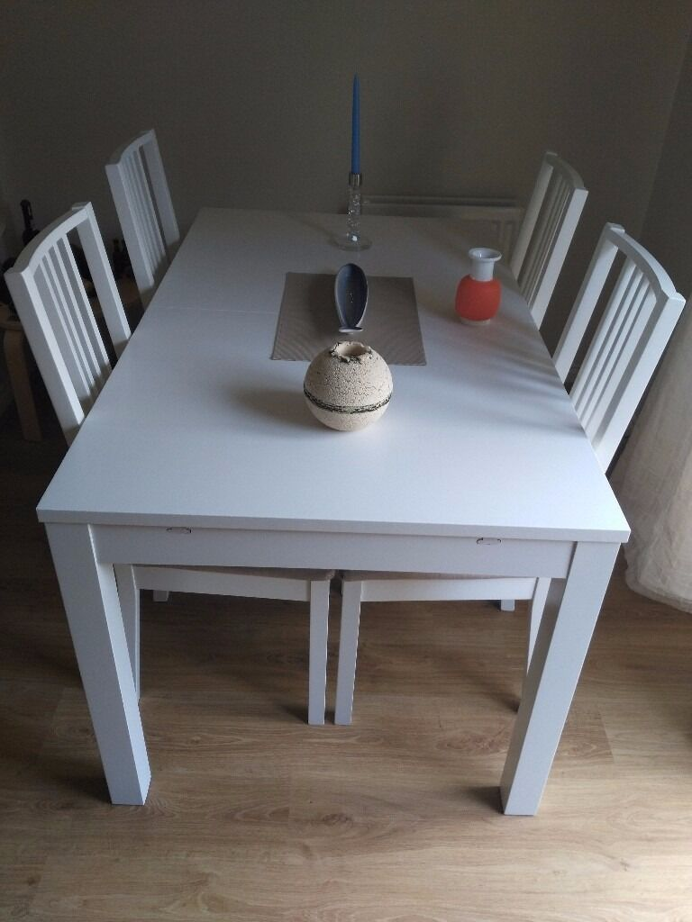Ikea Bjursta B 214 Rje Table And 4 Chairs White Kungsvik