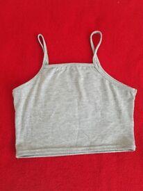 Boohoo Grey Basic Crop Top
