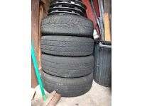 Wheels and tyres complete with wheel trims if you would like them