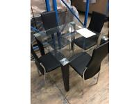 Tempered glass dining table and 4 chairs - As new