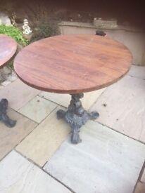 Two Cast Iron Pub Tables